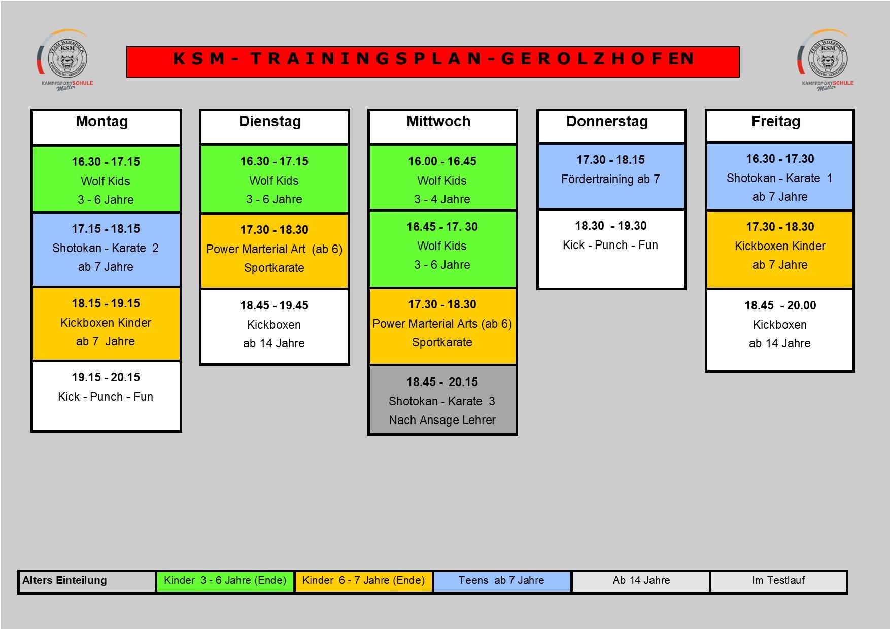 Trainingsplan Gerolzhofen